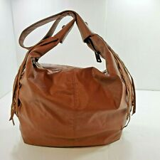 Large Roxy Man Made Faux Leather Hobo Purse Bag Brown Fringe