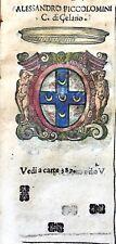 1586 ARALDICA STEMMA ALESSANDRO PICCOLOMINI Conte di Celano Regno Napoli