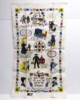 NOS Vintage KAY DEE Pure Linen Kitchen Tea Towel Pennsylvania Dutch Amish Print