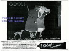 Toothpaste Odol German ad 1920 liftboy porter department store lady fur dog +