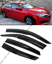 FOR 16-18 10TH GEN HONDA CIVIC 4DR SEDAN MUGEN 3D WAVY STYLE SMOKE WINDOW VISOR