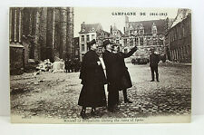 POSTCARD: Minister of Broqueville visiting the ruins of Ypres, WWI; Unposted