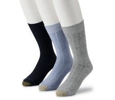 GOLDTOE Men's 3-Pack Hampton Fashion Dress Crew Socks Size 6-12.5 Assorted