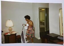 Vintage PHOTO Woman Preparing To Hang Banner In Hotel Room For Club Meeting