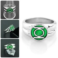 Men's Metal Cocktail Ring Superhero Silver Power Green Lantern Male Jewelry
