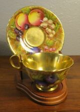 Aynsley Fruit Orchard with Gold Cup and Saucer Set Signed N. Brunt