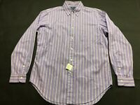 Polo Ralph Lauren New Mens Purple Striped Button Front Shirt Size M Classic Fit