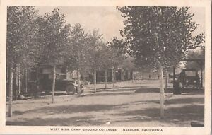 Postcard West Side Camp Ground Cottages Old Cars Needles CA 1930s  D11