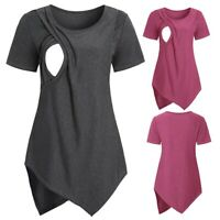 Women Maternity Short Sleeve Nursing Baby Breastfeeding T-shirt Pregnanty Tops