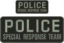 POLICE SPECIAL RESPONSE TEAM EMBRIDERY PATCH 4X10 AND 2X5  hook on back blk/gray
