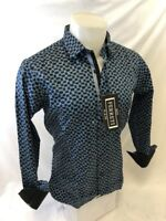 Mens FERRETI By BARABAS Designer Dress Shirt Woven BLUE GEOMETRIC SLIM FIT 4309