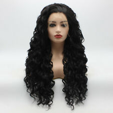 Meiyite Hair Curly Long 26inch Black Half Hand Tied Synthetic Lace Front Wig