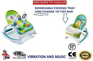Baby Safari Bouncer Musical Chair Soothing Vibration Infant To Toddler Rocker UK