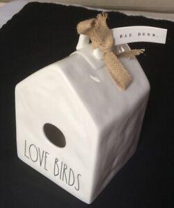 NWT Rae Dunn LOVE BIRDS White Square Birdhouse Ceramic 9x5x5.5