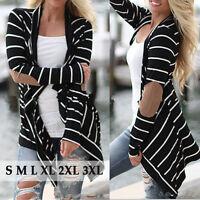 Fashion Women Striped Long Sleeve Coat Jacket Cardigan Top Loose Sweater Outwear