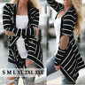 Fashion Women Striped Long Sleeve Coat Jacket Cardigan Top Loose Sweater Outwear