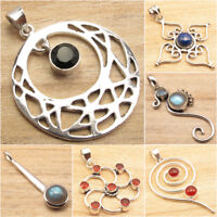 ROUND STONE Pendant ! Many Style, Many Color ! 925 Silver Plated FASHION Gift