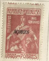 1915 Azores Postal Tax Stamp Unused Overprint Telegraphos Dois Centavos Portugal