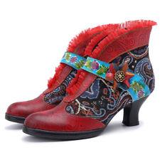 Women Bohemian Vintage Floral Pattern Pumps Stiletto Leather Block Boots
