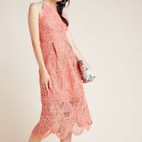 NWT ANTHROPOLOGIE SZ 4 AVA LACE MIDI SLEEVELESS  DRESS BY ERI + ALI