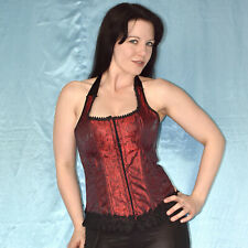 Gothic Halter Neck Corsage with Lace S-M Red Full-Breast Corsage Lingerie