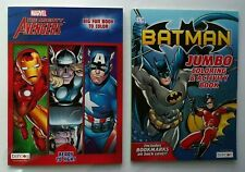 Lot of 2 Jumbo Coloring and Activity Books BATMAN - AVENGERS, for Children, Boys