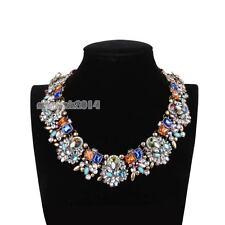 Charm Blue Color Mixed Crystal Rhinestone Bib Statement Choker Collar Necklace