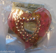 New In Package Butterflies & Rhinestones Heart Shaped French Hook Style Earrings