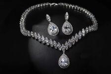 18k White Gold Necklace Earrings Set made w Swarovski Crystal Stone Bridal Jewel