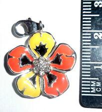 Orange Flower Crystals Clip-on charms for European Bracelet / Charm Carrier