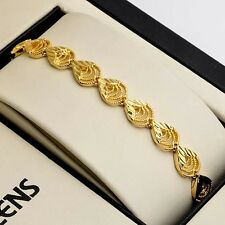 "18K Yellow Gold Filled unique Bracelet 7.3"" Womens Chain Charm Link Hot Jewelry"