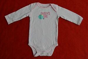 CARTER baby girls DADDY'S GIRLS pink polka dots body suit long sleeves size 6m
