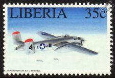 WWII USAAF North American B-25 J MITCHELL Mint Aircraft Stamp (1994 Liberia)