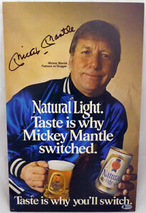 Mickey Mantle Autographed Natural Light Advertisement Yankees Beckett #A71762