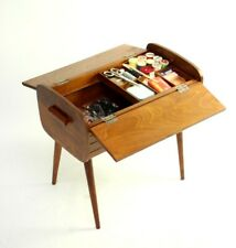 Vintage Retro Beech Sewing Box on Legs with Contents [5977]