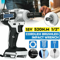 520NM 1/2'' Torque Impact Wrench Brushless Cordless Replacement For 18V Makita