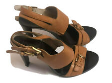 Michael Kors Womens Shoes Heels Size 8M Leather Sandals Camel Brown