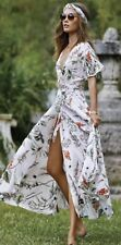 NWT Elan Botanical Floral Rayon Maxi Wrap Womens Short Sleeves Dress SCP5351