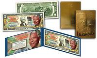 NELSON MANDELA 100th Birthday Genuine $2 US Bill w/FREE 23KT Gold Card $40 Value