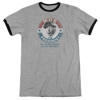 Three Stooges Moe for President Any Knucklehead Vintage Style Ringer Shirt S-3XL