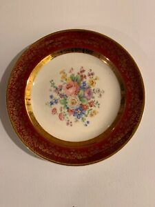 Vintage China Plate Maroon Flowers 23 Karat Encrusted Gold Century By Salem
