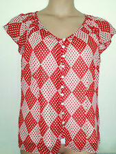 GEORGE 2 PIECE RED IVORY & WHITE CAMISOLE SEMI SHEER PEASANT TOP 16