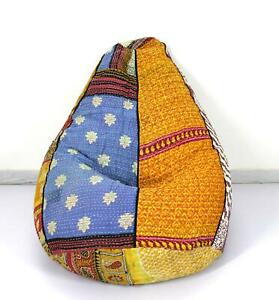 Handmade Vintage Cotton Kantha Floral Bohemian Bean Bag Sacco Chair Ottoman