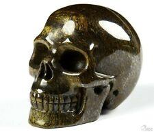 "2.0"" SHIMMERING BRONZITE Carved Crystal Skull, Realistic, Crystal Healing"