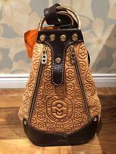 NWT~MARINO ORLANDI~Bucket Converts to SLING ~COGNAC Logo Embossed Leather Purse