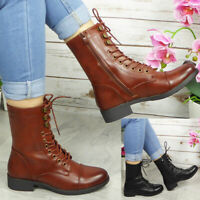 Womens Lace Up Ankle Boots Ladies Mid Heel Zip Boot Casual Comfy Fashion Shoes