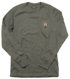 Polo Ralph Lauren Men's Grey Ski Polo Bear Waffle Knit Thermal Long Sleeve Shirt