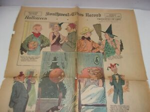Antique Halloween Newspaper Comic Strip Vignettes of Life Bringing up Father