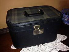 Vintage Plaid Train Make Up Over Night Case W/Key Suitcase Luggage Black Green