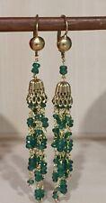18kt Yellow Gold Emerald dangle European Hook Earrings